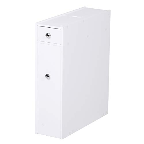 Homcom mobiletto armadietto cassetti scorrevoli moderno da bagno in mdf 17 x 48 x 58cm bianco