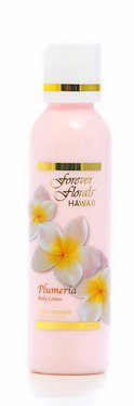 Plumeria Body Lotion 2 bottles 4oz Each Forever Florals Hawaii and 1 Tube of White Ginger Conditioning Shampoo and 1 Bar of Noni Maile Lavender Face & Body Soap by Forever Florals (Body Lotion Forever)