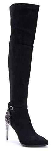 Schuhtempel24 Damen Schuhe Overknee Stiefel Stiefeletten Boots schwarz Stiletto Schnalle/Ziersteine 10 cm High Heels