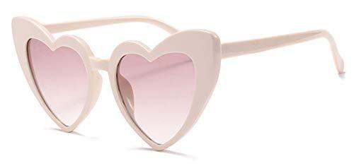 YYXXZZ Sonnenbrillen Metallscharnier Herz Scharfe Frauen Cat Eye Sonnenbrille Glitter Rosa Brille, Weiß Rot