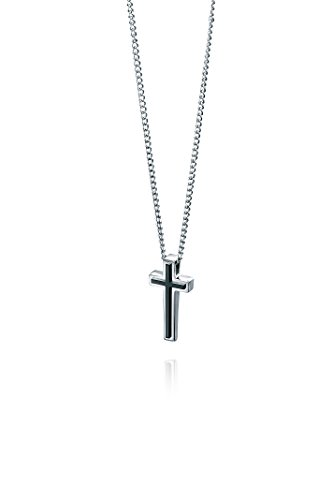 Fred Bennett Stainless Steel Mens P3006 Cross Pendant with Black Pvd Detail of Length 50cm
