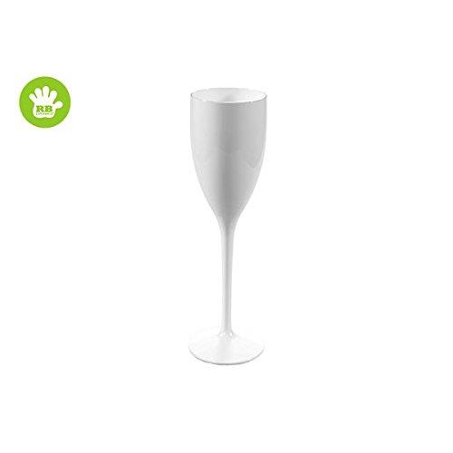 RBSTORE Lot de 3 Flûtes à Champagne - en Plastique incassable et réutilisable 12cl (Blanc)