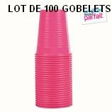 4 LOTS DE 25 GOBELETS ROSE FUSCHIA 20 CL