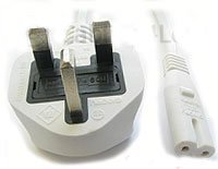 Price comparison product image Power Cord UK Plug to Figure 8 Fig of 8 Lead Cable C7 2m White
