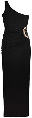 Eyekepper Frauen Plissee taille mit Perlenschnur Muster schulter Etuikleid Schwarz