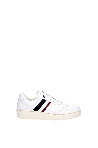 Sneakers Moncler Uomo Pelle Bianco,Rosso e Blu A209A101090007560002 Bianco 40EU