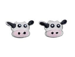 925 Silver Cow enamel studs/Free Gift Box S42