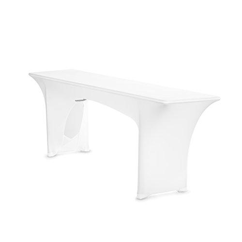 TexDeko Biertischhusse Stretch Amber für Bierzelttisch nur Tisch 220 cm Weiß 70cm