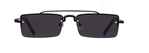 WSKPE Sonnenbrille Rechteckige Sonnenbrille Frauen Designer Schmale Rechteck Randlose Gold Frame Sonnenbrillen Schattierungen (Schwarz Objektiv)