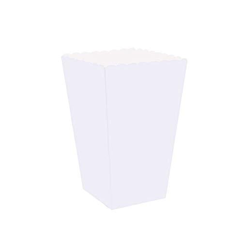 100 stücke Popcorn Boxen Halter Container Kartons Papier Taschen Streifen Box für Film Theater Dessert Tische Hochzeit Gefälligkeiten (Weiß) Dessert-container