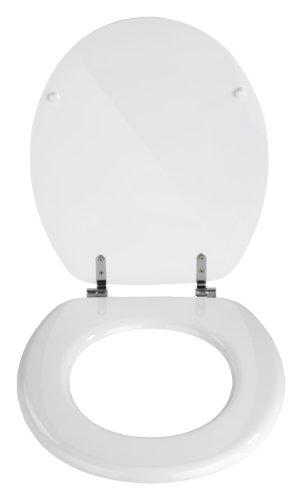 Wenko 154008100 WC-Sitz Valencia weiß – rostfreie Edelstahlbefestigung, MDF, 37.5 x 43.5 cm, weiß