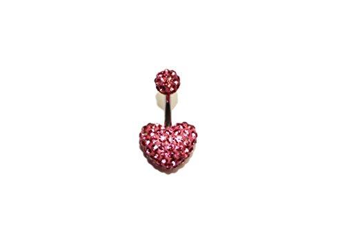 Gioielli moda, in acciaio chirurgico, colore: rosa, con cristalli, a forma di cuore, con anello ombelicale per piercing per ombelico a forma di, acciaio inossidabile, cod. obr190p