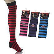aler Six Pairs Ladies Cotton Dark Stripe over the Knee socks / Size 4 - 7 by Aler