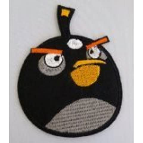 Iron on DIY Fabric Patch Sticker #DS-10- Large Black Angry Birds by T.W. Shop
