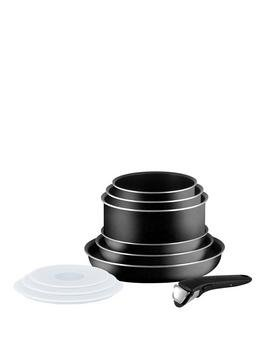 Tefal Ingenio Non-Stick 10 Piece Cookware Frypan Saucepan Pan Set - Black.
