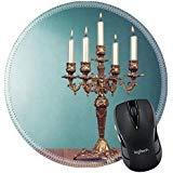 MSD Naturkautschuk Mousepad rund Mauspad 23950196Vintage Bronze-mit fünf Burning Kerzen vor mint grün -