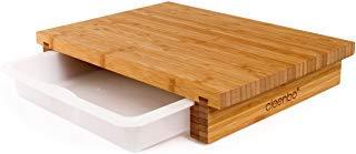 """Schneidbrett cleenbo """"classic bamboo"""" Profi Küchenbrett aus geöltem Bambus mit verschiebbarer Auffangschale aus lebensmittelechtem Kunststoff, Board Maße: 400 x 290 x 70 mm"""