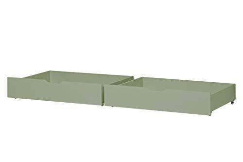 Massive Kiefer Himmelbett (Hoppekids Basic Schubkastenset auf Rollen (2 Stück), Kiefer massiv, 182 x 60 x 19 cm)