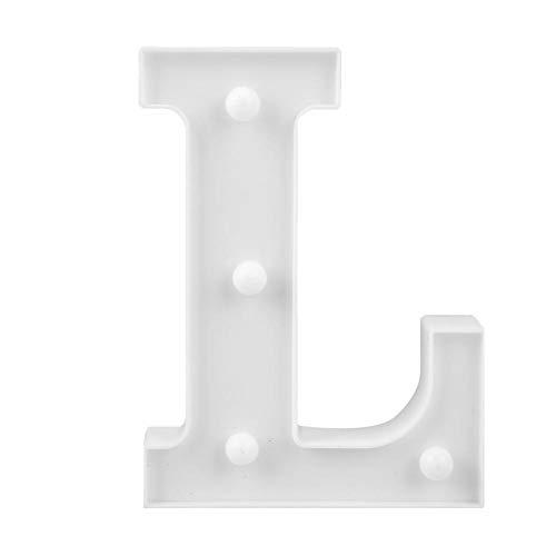 Matefielduk 3D LED Nachtlicht, dekorative Buchstaben Licht, Buchstaben des Alphabets A-Z, Weiß, für Dekoration Zimmer und Küche (warmes Licht) Buchstabe L (Dekorative L Buchstaben)