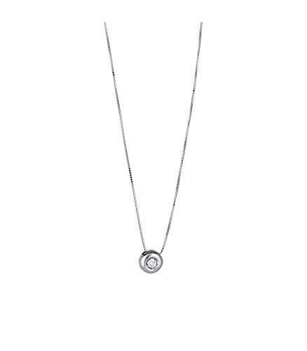Gioielli di Valenza Collana Punto Luce a cipollina in Oro Bianco 18k con Diamante