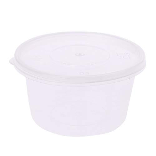 Kalttoy 10Pcs Slime Cuisine en Plastique Jetable Sauce Tasse en Pot Pot Chutney Conteneur avec Couvercle Boîte De Rangement Cas 100ml