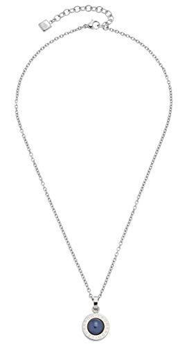 Jewels by Leonardo Damen-Halskette Matrix Perla Nero, Edelstahl mit blauschwarzem Perl-Cabochon und Leonardo-Gravur, Länge 400 mm, 016681