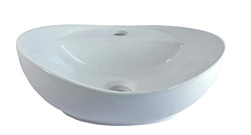 1 x Lavabo de cer/ámica ovalado peque/ño lavabo de cer/ámica 40,5 cm L 33 cm B