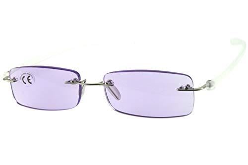 Lesebrillen Damen Herren lila violett, rahmenlos, getönte Gläser leicht, moderne eckige Form, schmale weiße extra lange transparente Bügel 1.0 1.5 2.0 2.5 3.0 Dioptrien, Dioptrien:Dioptrien 3.0