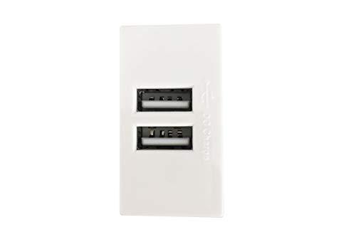 Doble enchufe USB empotrable 2A Compatible matix módulo Blanco 2puertas–Tipo 1unidades