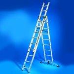 Hailo 9309-501 Profilot Alu-Kombileiter 3-teilig, Lot-System 2x 9 und 1 x 8 Sprossen