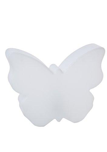8 seasons design| Leuchtender Deko Schmetterling Shining Butterfly (E27, 40cm groß, innen & außen, UV- & wetterfest, Garten, Balkon, Terrasse, Haus) weiß