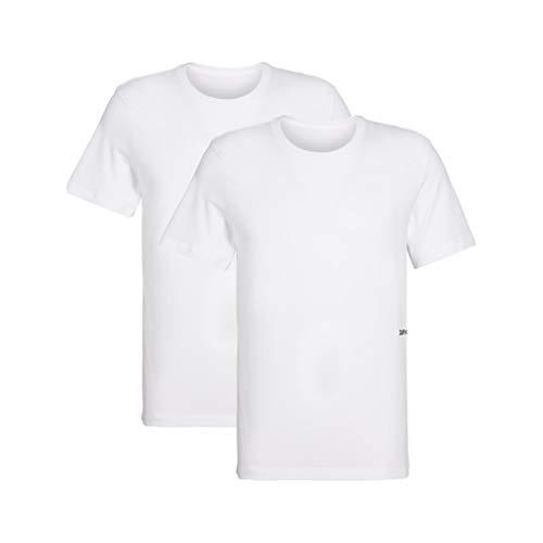 Calvin klein s/s crew neck 2pk, t-shirt donna, bianco (white 100), l