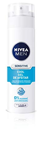 NIVEA MEN Sensitive Cool - Gel de Afeitar en pack de 6, gel refrescante con 0% alcohol, gel de afeitado para una máxima protección de la piel sensible (6 x 200 ml)