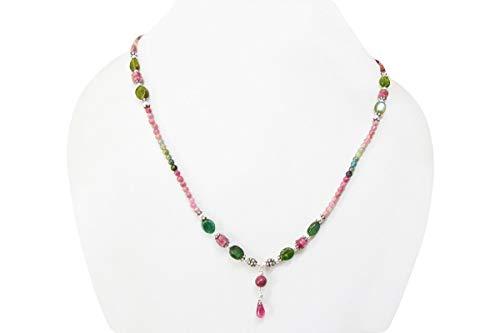 Wassermelone Turmalin Perlen Halskette Strand mit 925 Silber Erkenntnisse von Anushruti Natürliche Edelstein Handgefertigte Schmuck 16
