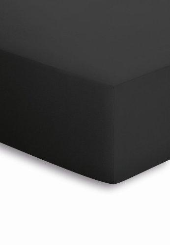 Schlafgut Mako-Jersey Basic Spannbetttuch, Baumwolle, schwarz, 200 x 200 cm
