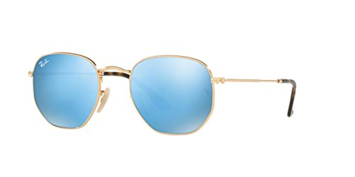 Ray-Ban Mens Hexagonal Flat Lens Sunglasses (RB3548) Gold Shiny/Blue Metal - Non-Polarized - 51mm