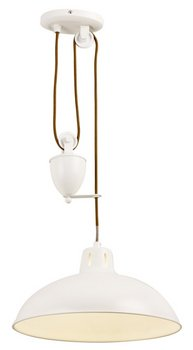 Modern Cream Rise and Fall Ceiling Pendant Light, Ideal for Over Kitchen and Dining Tables - inexpensive UK light store.