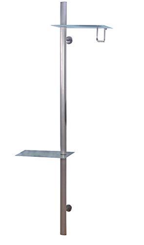 Heinz Hofmann Wandgarderobe Metall Glas Ablage Flur Garderobe Kleiderständer Kleiderstange Silber