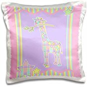 Janna Salak Designs Jungle Animals - Cute Plaid Giraffe with Branch on Pink and Rainbow Stripe Background - 16x16 inch Pillow Case