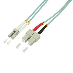 BIGtec 0,5m LWL Kabel Patchkabel OM3 Glasfaser-Kabel 40Gbit Multimode 50/125µm Ø 2mm Jumper LC - SC Stecker Duplex Aqua/türkis Fiber Optic Cable -
