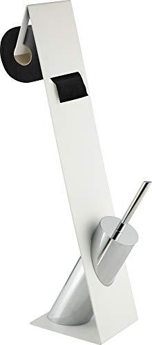 Sanwood Kombi-Bürstengarnitur TURIN weiß, Behälter verchromt mit Kunststoffeinsatz
