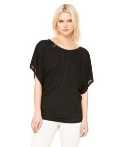 Black Dolman Sleeve (Bella+Canvas: Flowy Draped Sleeve Dolman T-Shirt 8821, Größe:L;Farbe:Black)