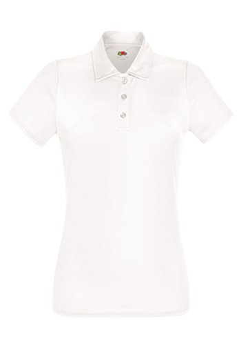 Fruit of the Loom Performance Polo Lady-Fit Damen Poloshirt Funktionsshirt Polohemd NEU, Farbe:weiß, Größe:XL - Damen Strukturierte Performance Polo