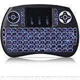 TOOGOO Mini teclado inalambrico QWERTY de 2,4 GHz portatil con panel tactil y luz de fondo para PC/Smart TV/Android TV Box