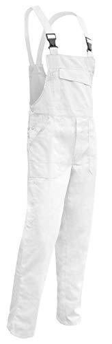 KERMEN - Salopette da pittore Hamburg Salopette da lavoro 100% cotone 245gr - made in EU - Taglia: 48, Colore : Bianco