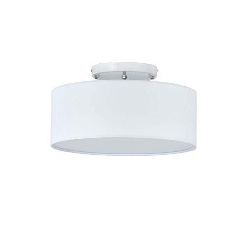 Deckenleuchte, SPARKSOR Modern Fabric Pendelleuchte, großer weißer Trommel-Lampenschirm, runde Pendelleuchte, für Schlafzimmer, Wohnzimmer, Chrom matt, 3 Glühlampen, E27 [Energieklasse A ++]