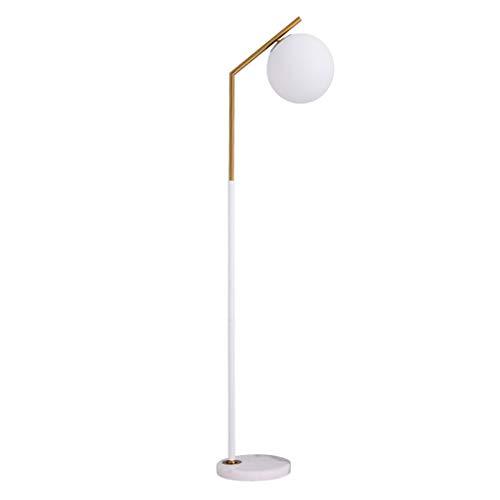 A-ZHP Stehlampen Glas Lampenschirm Stehlampe - Milchglas Kugel Und Messing Oberfläche Stehlampe for Wohnzimmer Schlafzimmer Büro Hotel Lampe Stehlampe Piano Licht (Color : A) -