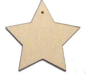 Brilliant Buys 10 x Madera Estrella Formas, Simple Madera Manualidades Etiquetas con Agujero - Beige, 20mm
