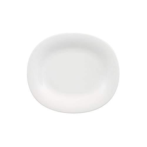 Villeroy & Boch New Cottage Basic ovaler Frühstücksteller, Premium Porzellan, 23 x 19 cm