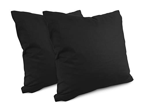 npluseins Renforcé-Kissenbezüge im Doppelpack - 100% Baumwolle - schlicht und edel 698.898, 40 x 40 cm, schwarz